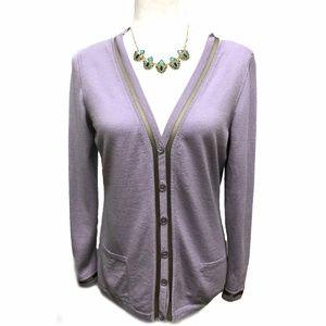Escada Lavender Light Wool Blend Button Cardigan M